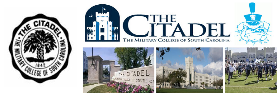 The Citadel crest, school mascot and school logo in addition to entrance sign, central campus and football team images by Everything Doormats.
