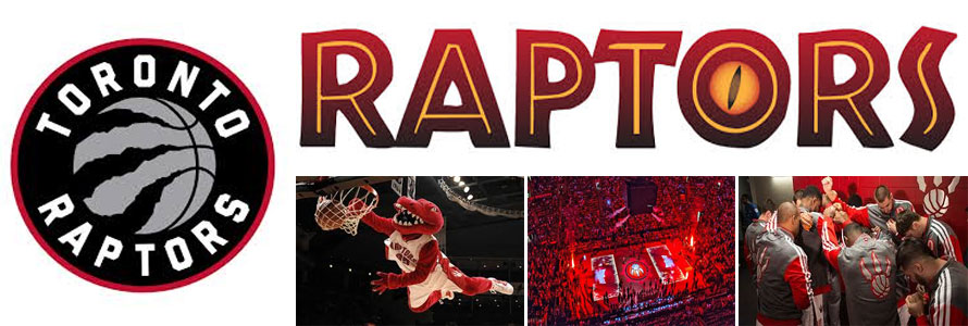 Images of the Toronto Raptors team logo, bastball court, players and mascot.