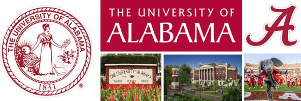University of Alabama header image created by everything doormats featuring images of the school seal, name, mascot, logo campus and other images.