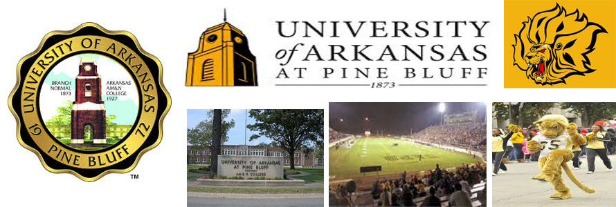 University of Arkansas at Pine Bluff school crest, entrance marker, football stadium, mascot and school logo in an image by everything doormats.