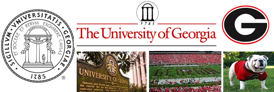 University of Georgia header image created by everything doormats featuring images of the school seal, name, mascot, logo campus and other images.