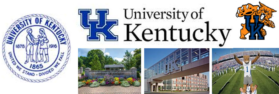 University of Kentucky Wildcats header image created by everything doormats featuring images of the school seal, name, mascot, logo campus and other images.