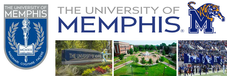 University of Memphis header image created by everything doormats featuring images of the school seal, name, mascot, logo campus and other images.
