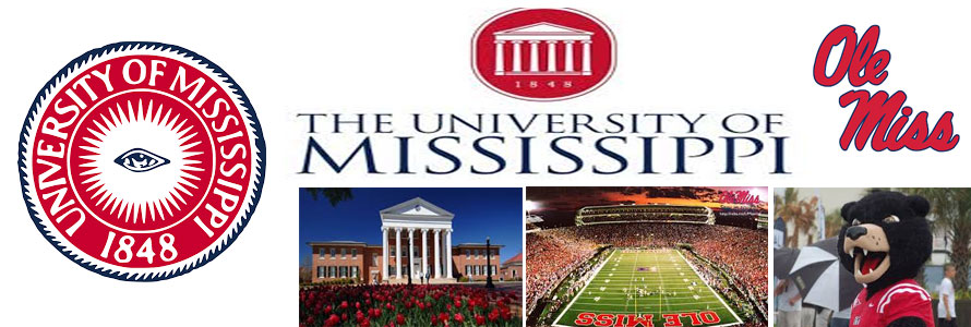 University of Mississippi header image created by everything doormats featuring images of the school seal, name, mascot, logo campus and other images.