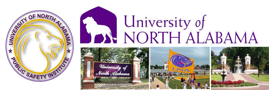 University of North Alabama Lions crest and campus images.