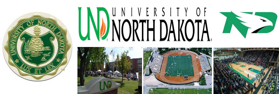 University of North Dakota header image created by everything doormats featuring images of the school seal, name, mascot, logo campus and other images.