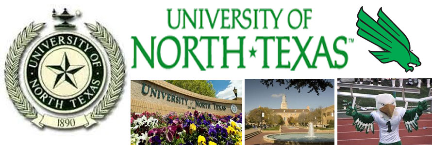 University of North Texas header image created by everything doormats featuring images of the school seal, name, mascot, logo campus and other images.