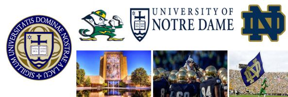 University of Notre Dame Fighting Irish school crest, mascot image, logo image, library and reflecting pool football team and mascot with flag by Everything Doormats.