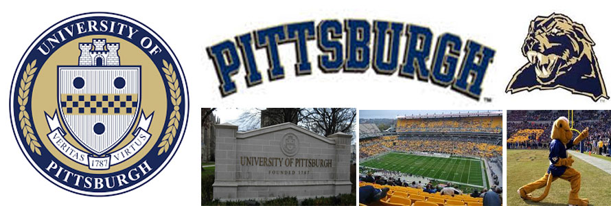 University of Pittsburg header image created by everything doormats featuring images of the school seal, name, mascot, logo campus and other images.