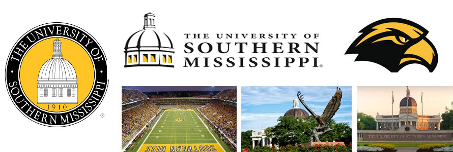 University of Southern Mississippi Golden Eagles crest, campus images, school logo and football stadium.
