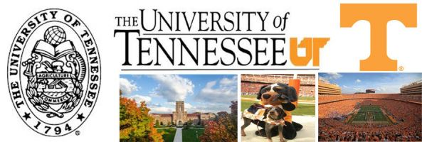 University of Tennessee header image created by everything doormats featuring images of the school seal, name, mascot, logo campus and other images.