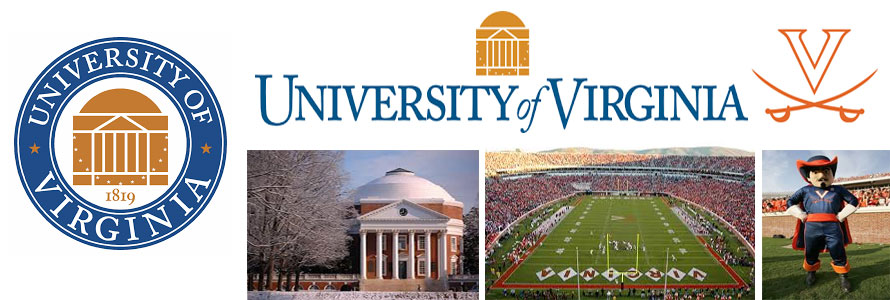 University of Virginia header image created by everything doormats featuring images of the school seal, name, mascot, logo campus and other images.