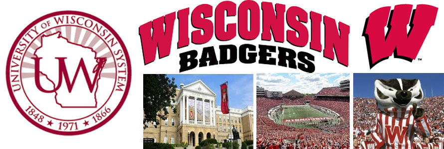 University of Wisconsin Badgers header image made by everything doormats featuring school seal, name, buildings, stadium and mascot.