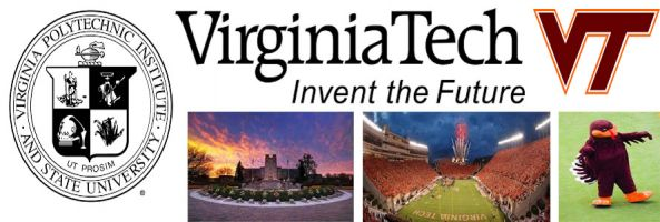 Virginia Tech header image created by everything doormats featuring images of the school seal, name, mascot, logo campus and other images.