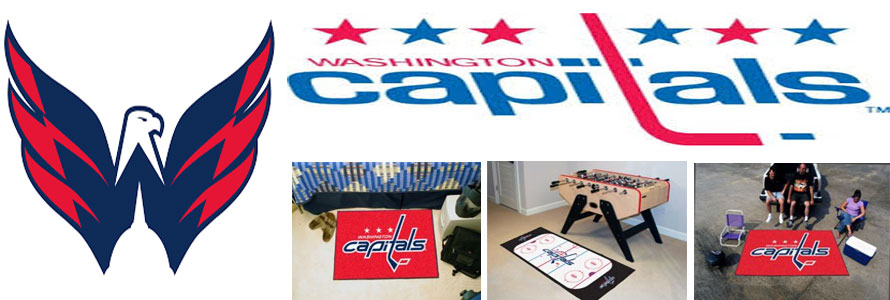 Washington Capitals header image created by everything doormats featuring images products offered on our website, the teams' logo and name.