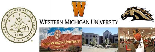 Western Michigan University header image created by everything doormats featuring images of the school seal, name, mascot, logo campus and other images.