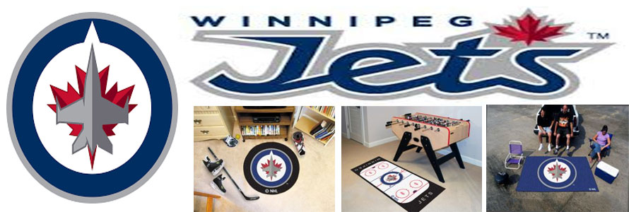 Winnipeg Jets header image created by everything doormats featuring images products offered on our website, the teams' logo and name.