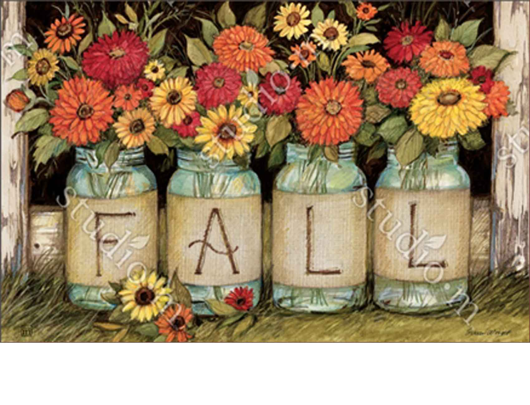 Indoor & Outdoor Fall Mason Jars MatMate Doormat-18x30