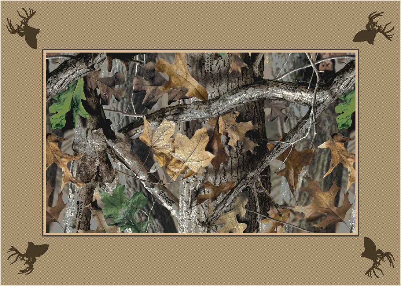 Timber Realtree Bordered Leaves Amp Branches Camouflage Area Rug