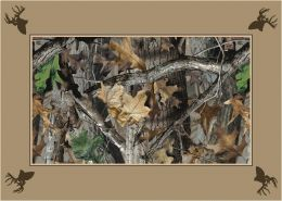 Timber Realtree Bordered Leaves & Branches Camouflage Area Rug