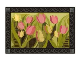 Tulips on Green Spring Flower MatMates Doormat - Floor Mat