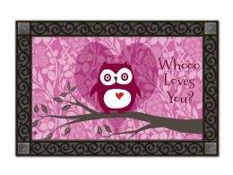 Who Loves You Valentine Owl Non-Slip MatMates Floor Mat