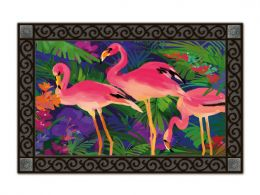 Pink Flamingos Summer Seasonal Indoor & Outdoor Recycled Rubber Doormat