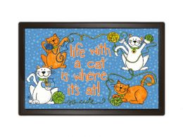 Rubber Pet Indoor & Outdoor Life with a Cat MatMates Doormat