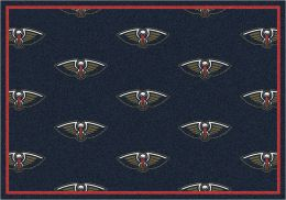 New Orleans Pelicans NBA Repeating Logo Nylon Area Rug