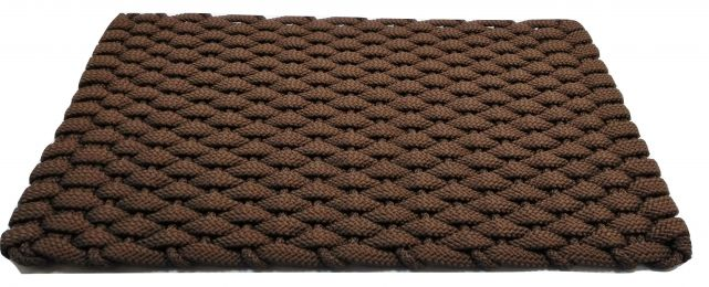 Brown Rockport Flat Rope Hand Woven Floor Mat with Brown Inserts