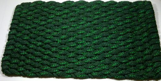 Striped Forest Green Flat Rope Hand Woven USA Made Doormat