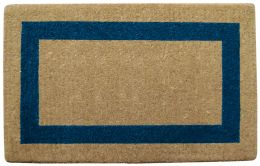 Blue Picture Frame Natural Coco Coir Doormat - Welcome Mat