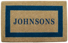Personalized Blue Picture Frame Coco Coir Doormat