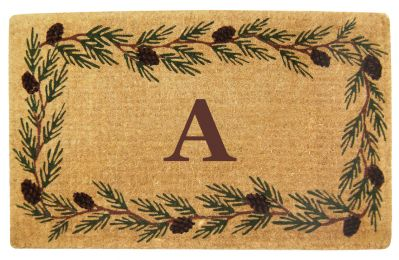 Monogrammed Evergreen Border Coco Coir Doormat