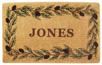 Evergreen Border Coco Coir Doormat - Welcome Mat