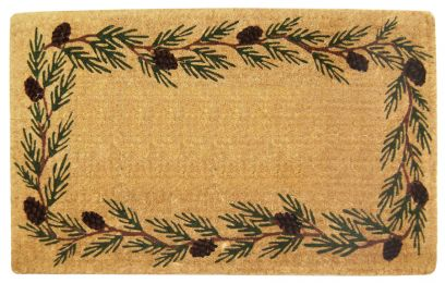 Evergreen Border Natural Coco Coir Doormat - Welcome Mat