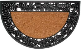 Half Round Olive Border Natural Coir Doormat