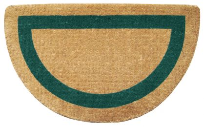 Half Round Green Frame Natural Plain Coir Doormat