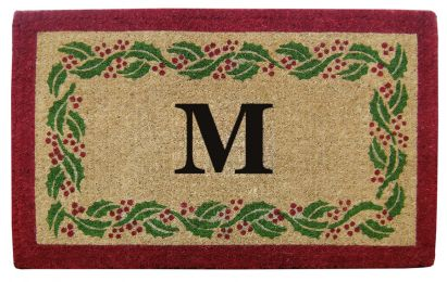 Monogrammed Holly Ivy Border Coco Coir Doormat