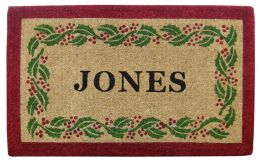 Personalized Holly Ivy Border Coco Coir Doormat - Welcome Mat