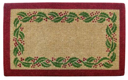 Holly Ivy Border Natural Coco Coir Doormat - Welcome Mat