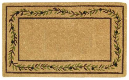 Olive Branch Border Coco Coir Doormat - Welcome Mat