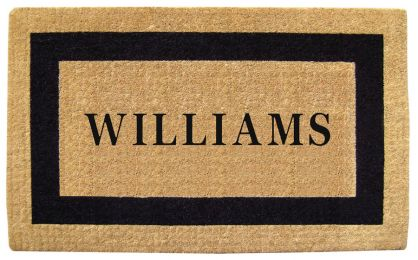 Personalize Black Picture Frame Coco Coir Doormat - Welcome Mat