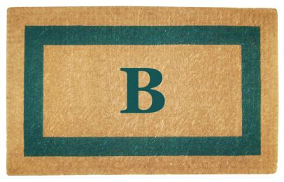 Monogrammed Green Picture Frame Coco Coir Doormat