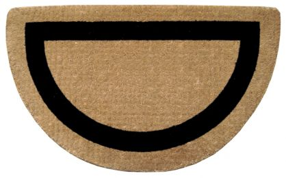Half Round Black Frame Natural Plain Coir Doormat