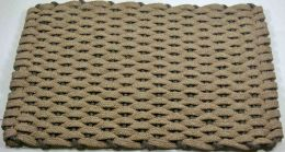 Tan with Brown USA Made Hand Woven Rope Floor Mat