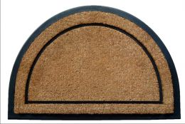 Half Round Black Rubber Frame Natural Plain Coir Doormat
