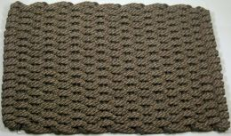 Brown and Tan 50 x 50 Striped Rockport Rope Hand Woven Floor Mat