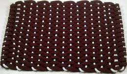 Burgundy & White Indoor or Outdoor Floor Mat - Rope Doormat