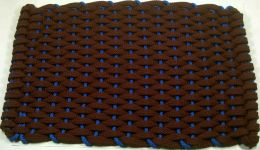 Burgundy & Blue Hand Woven Rockport Rope Mat
